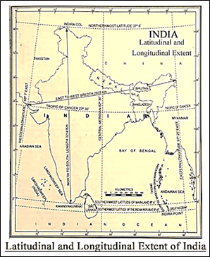 Latitudinal and Longitudinal Extent of India