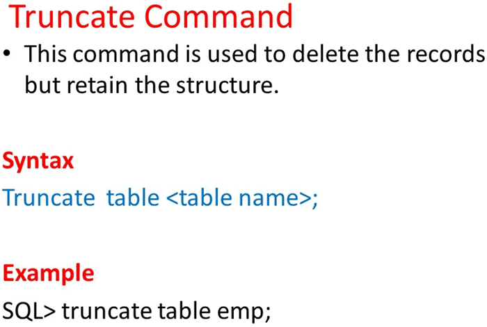 Define Truncate Command